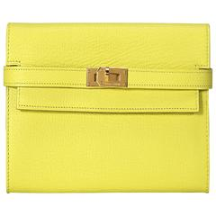 Hermes Kelly Wallet Leather Yellow Color GHW