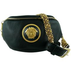 Gianni Versace Vintage 1990s Black Leather Medusa Waist-Belt Bag