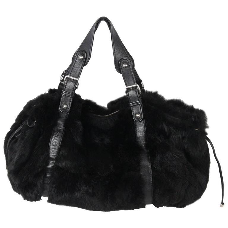JIL SANDER Black Lapin Fur & Leather  TOTE Shoulder Bag