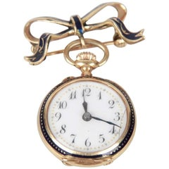 Yellow Gold Blue Enamel Vintage Brooch With Watch Clock Pendant