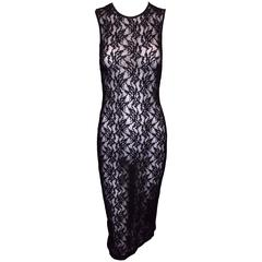 NWT 1990's D&G by Dolce & Gabbana Black Mesh & Lace Sheer Wiggle Dress XS/S