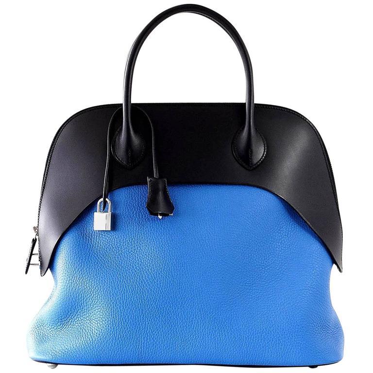 Hermes Blue Zanzibar / Blue Indigo Clemence Sombrero Paddock Bolide 35 Bag