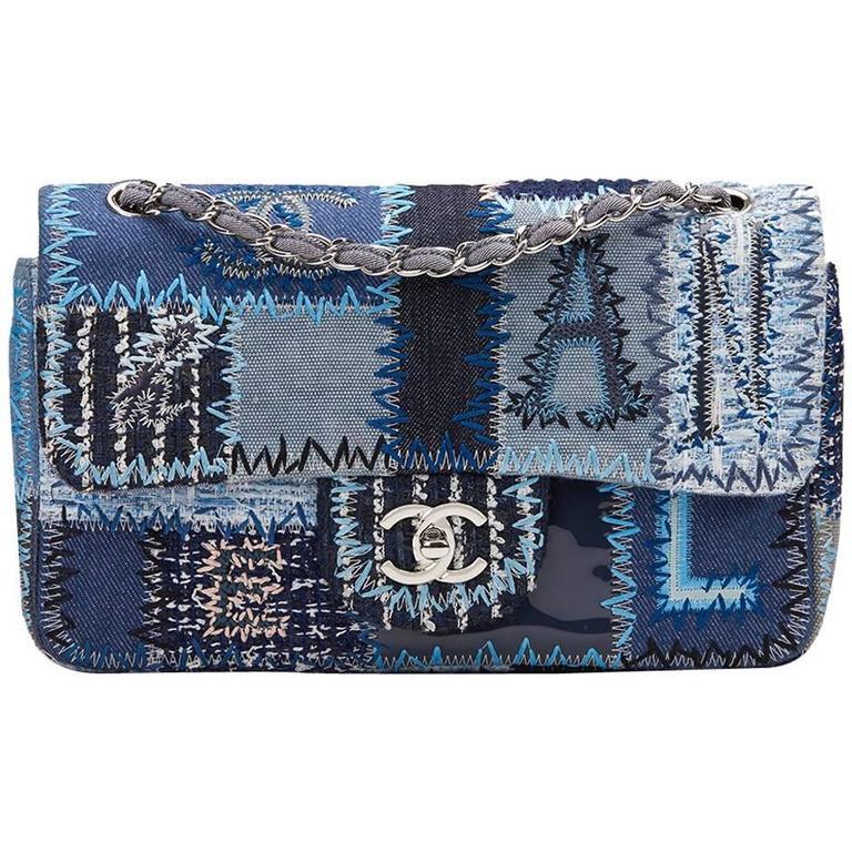 5d6d05234317 2015 Chanel Blue Denim Patchwork Flap Bag at 1stdibs