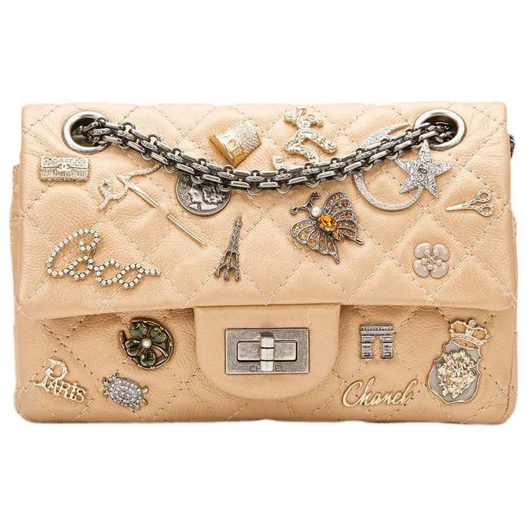 2010s Chanel Gold Aged Calfskin Lucky Charms 2.55 Reissue 224 Double Flap Bag