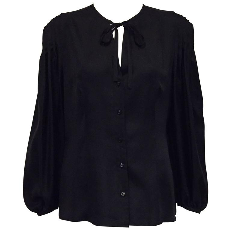 Elegant and Romantic Escada Black Silk Poetess Blouse  For Sale