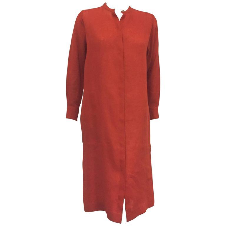 Hermes Summer Outstanding Red/Orange Linen Dress