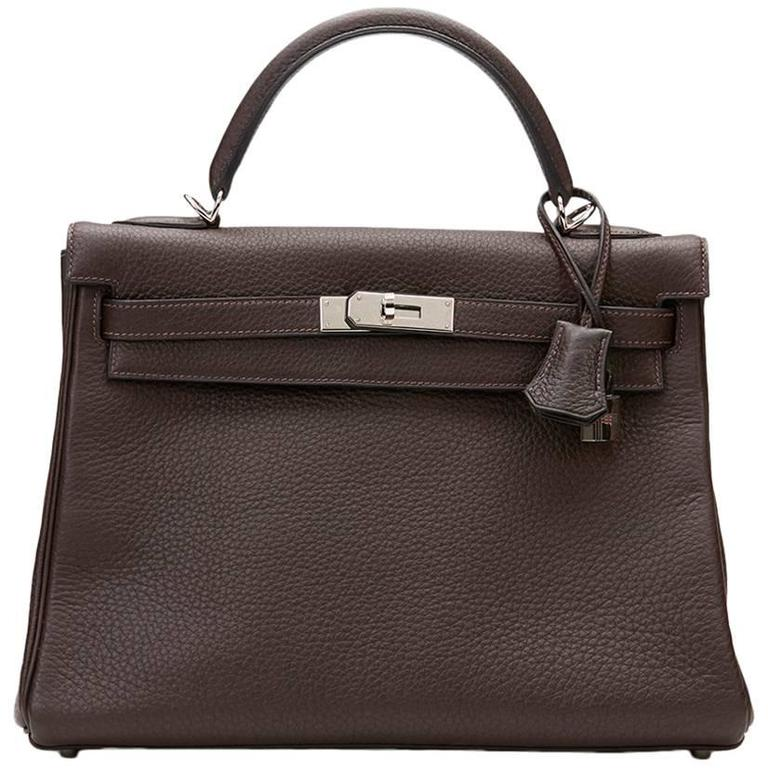 2003 Hermes Chocolate Clemence Leather Kelly Retourne 32cm 1