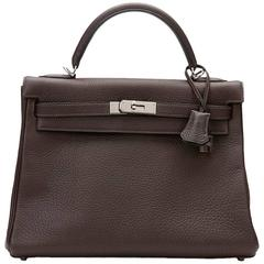 2003 Hermes Chocolate Clemence Leather Kelly Retourne 32cm