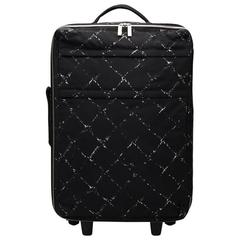 2000s Chanel Black & White Nylon Waterproof Travel Line Rolling Case