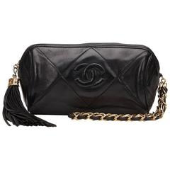 1980s Chanel Black Quilted Lambskin Vintage Fringe Pouch