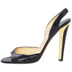 Jimmy Choo Black Patent Slingback Sandals Sz 38