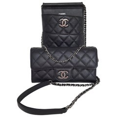 Rare Chanel  Black 2-In-One Crossbody Pouch & Over Sized Wallet In Caviar