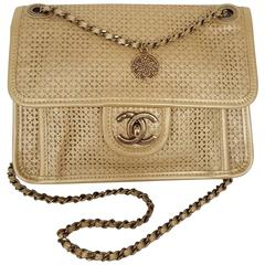 Chanel Rare Shoulder Flap Bag In Metallic Beige From the Dubai Collection