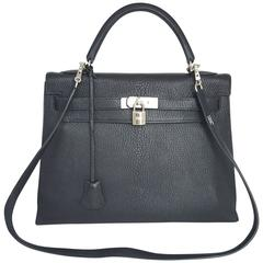 Hermes Black Kelly 32 With Palladium Hardware Chevre (Goat Skin)  2005