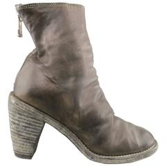 GUIDI Size 7 Brown Leather Distressed Chunky Heel Ankle Boots