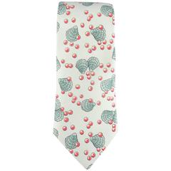 HERMES Mint Clam Sea Shell & Red Pearl Print Silk Tie