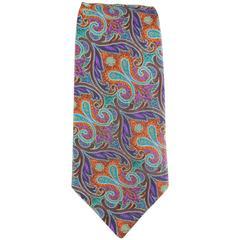 Vintage GIANNI VERSACE Purple Teal & Orange Paisley Brocade Print Silk Tie