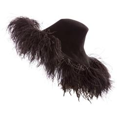 Alber Elbaz Lanvin Runway Black Wool Felt Hat Ostrich Feather Trim, Fall 2014