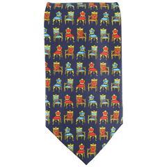 Vintage GIANNI VERSACE Navy Red & Gold Chair Print Silk Tie