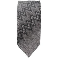 MISSONI Tie - Gray Chevron Zig Zag Silk Tie