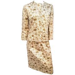 1960s Gold Lamé Brocade Two Piece Suit Set