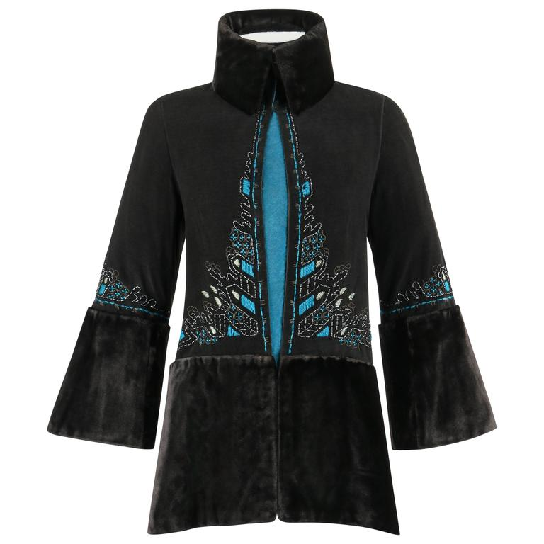 COUTURE c.1910's Edwardian Black Peacock Blue Velvet Detail Embroidered Jacket For Sale