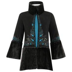 COUTURE c.1910's Edwardian Black Peacock Blue Velvet Detail Embroidered Jacket