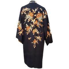 Black Embroidered Kimono w/ Orange Flowers