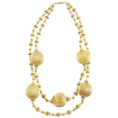 Vintage Gold Double Strand Ball Necklace - circa 1970's