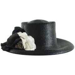 Suzanne Couture Millinery Black Gloss Straw Hat with Silk Flower