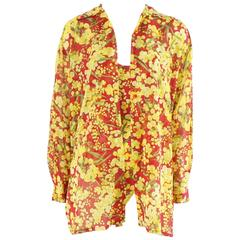 Christian Dior Red and Yellow Floral Print Bodysuit and Blouse Set - 1960's
