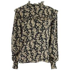 Valentino Black and Tan Floral Blouse with Cuff Links - L - 1980's