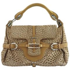 Jimmy Choo Tan and Silver Perforated Suede Shoulder Bag