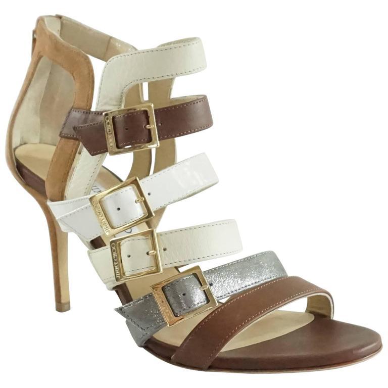 Jimmy Choo Earthtones Strappy Bootie Sandal, Size 38.5 For Sale