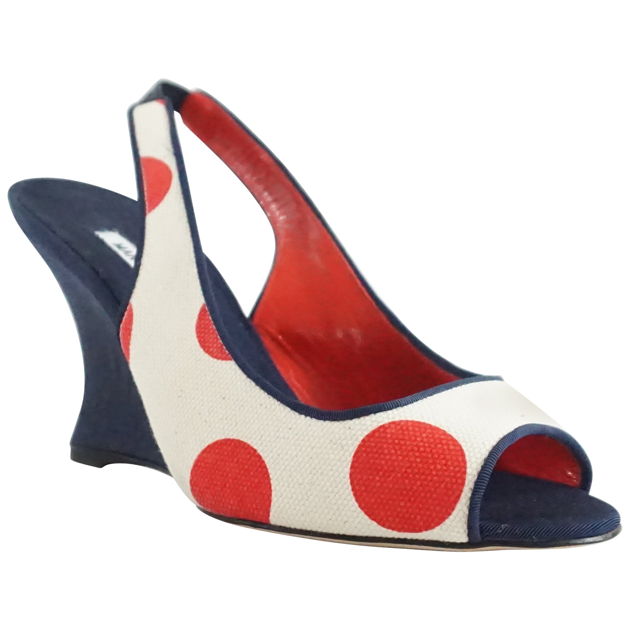 eb3ce9c1fa4 Manolo Blahnik Cream and Red Polka Dot Navy Wedges, Size 37.5