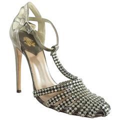 Roberto Cavalli Metallic T-Strap Heels with Rhinestones - 37