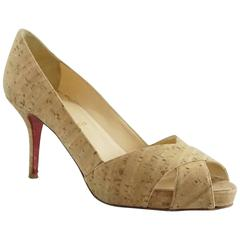 Christian Louboutin Cork Peep-Toe Pumps - 37