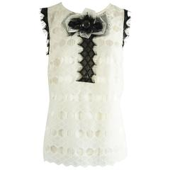 St. John Couture Ivory with Black Detailing Lace Sleeveless Top - 6