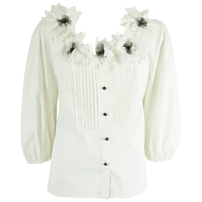 St. John Couture White Cotton with Black Detailing 3/4 Sleeve Blouse - 6