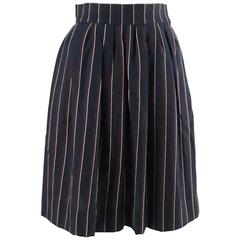 Yves Saint Laurent Navy Striped Skirt - 36 - 1960's
