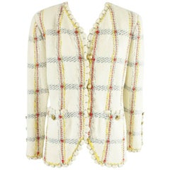 Adolfo Ivory and Multi Window Pane Knit Jacket - M