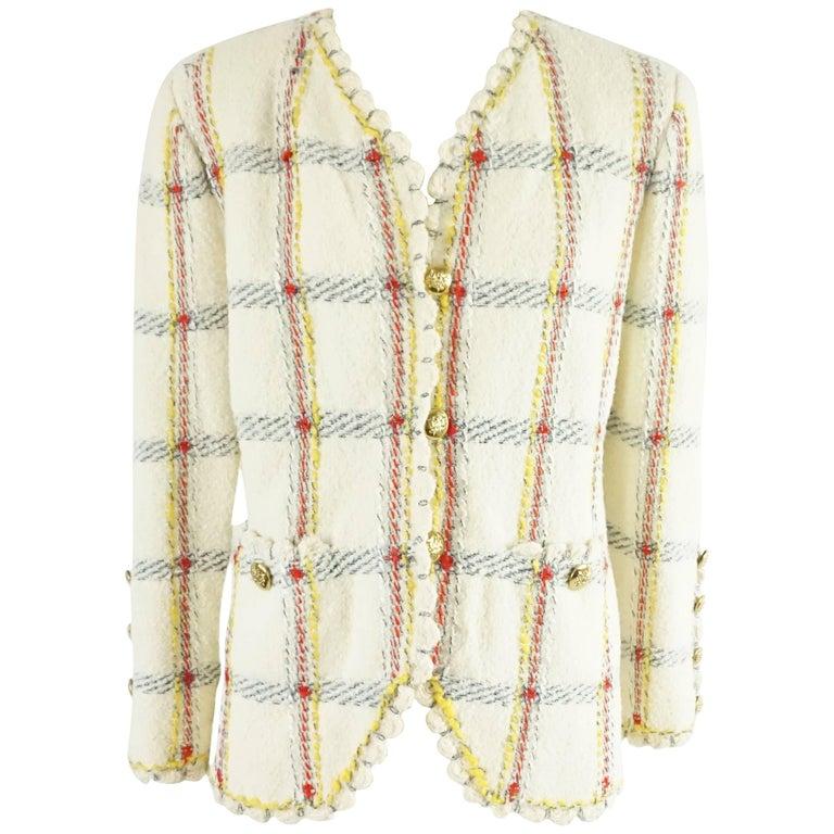 Adolfo Ivory and Multi Window Pane Knit Jacket - M
