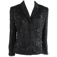 Badgley Mischka Black Lace and Rhinestone Jacket with Lace Up Sides - 12