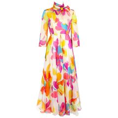 KIKI HART c.1970's White Multicolor Psychedelic Floral Print Chiffon Maxi Dress