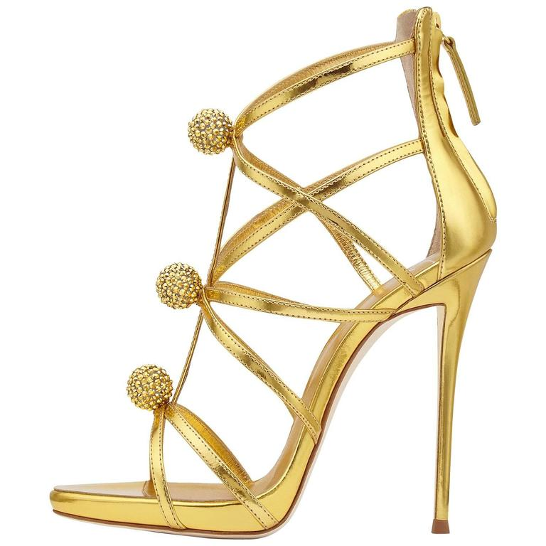 Giuseppe Zanotti New Gold Leather Crystal Pom Pom Evening Sandals Heels in Box 1