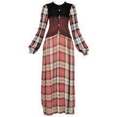 Comme des Garcons Pink Plaid Grunge Dress 1994