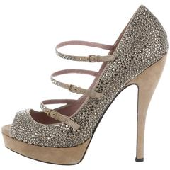 New GUCCI Lisbeth Silver Beige Crystal Mary Jane Straps Pump Shoes 38.5 and 39.5