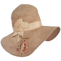 1920s Wide Brim Floral Straw Hat