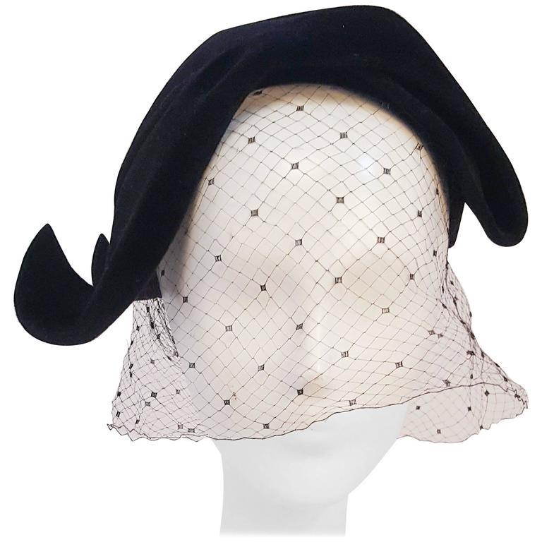 1950s Black Veiled Velvet Hat