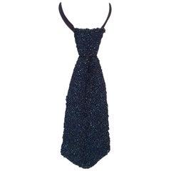 1940s Blue Iridescent Women's Necktie